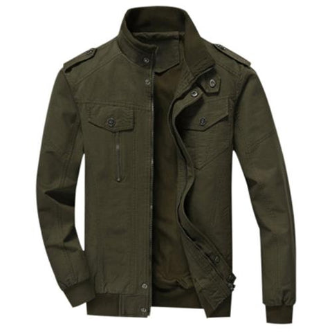 MEN00-MENS COTTON ZIP UP JACKET (ARMY GREEN)