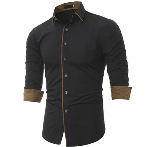MEN00-TURNDOWN COLLAR COLOR BLOCK EDGING SHIRT (BLACK) L