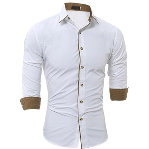 MEN00-TURNDOWN COLLAR COLOR BLOCK EDGING SHIRT (WHITE) XL