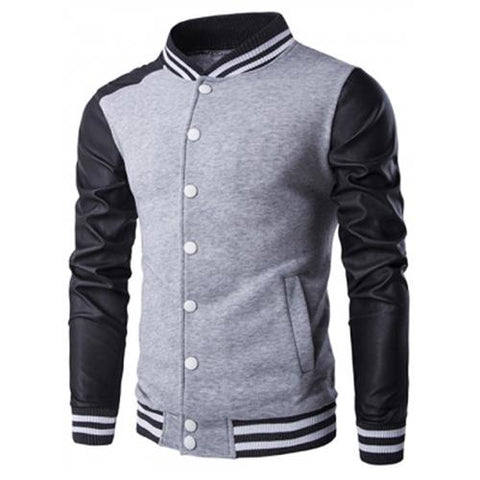 MEN00-PU-LEATHER AND STRIPE RIB SPLICING STAND COLLAR JACKET (GRAY)