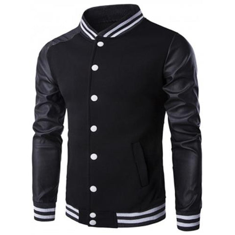 MEN00-PU-LEATHER AND STRIPE RIB SPLICING STAND COLLAR JACKET (BLACK)