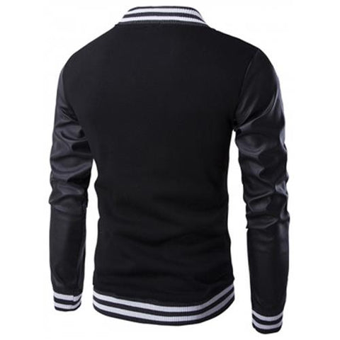 MEN00-PU-LEATHER AND STRIPE RIB SPLICING STAND COLLAR JACKET (BLACK) XL