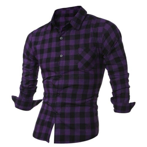 MEN00-LONG SLEEVE BREAST POCKET BUTTON UP PLAID SHIRT (PURPLE)