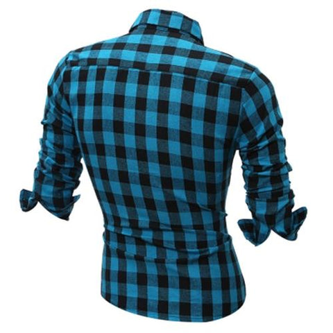 MEN00-LONG SLEEVE BREAST POCKET BUTTON UP PLAID SHIRT (LIGHT BLUE)