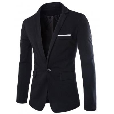 MEN00- ONE BUTTON BLAZER (BLACK) M, XL