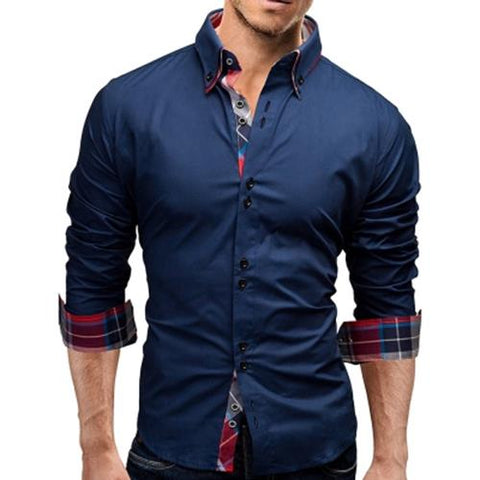 MEN00-BUTTON DOWN DOUBLE LAYER COLLAR SHIRT (DEEP BLUE)