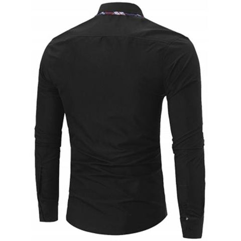 MEN00-BUTTON DOWN DOUBLE LAYER COLLAR SHIRT (BLACK) L