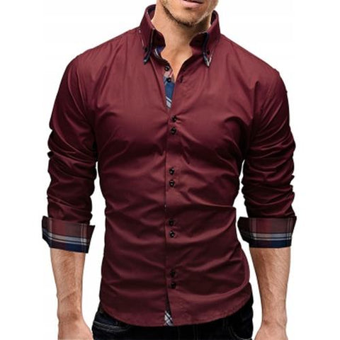 MEN00-BUTTON DOWN DOUBLE LAYER COLLAR SHIRT (WINE RED) L