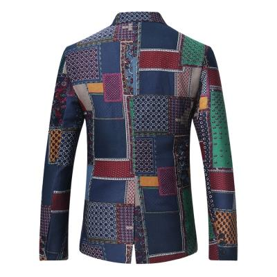 MEN00- SINGLE BREASTED PATCHWORK LINEN BLAZER (COLORMIX) S, M