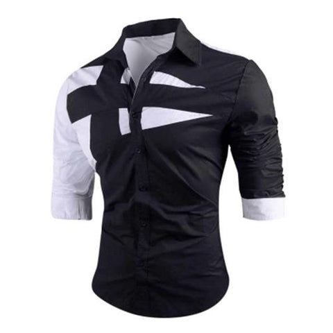 MEN00-TURN-DOWN COLLAR TWO TONE SHIRT (BLACK)