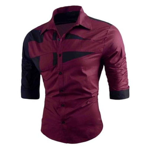 MEN00-TURN-DOWN COLLAR TWO TONE SHIRT (RED)