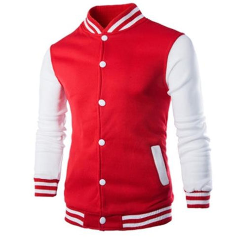 MEN00-STAND COLLAR STRIPED COLOR BLOCK BASEBALL JACKET (RED)