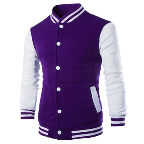 MEN00-STAND COLLAR STRIPED COLOR BLOCK BASEBALL JACKET (PURPLE)