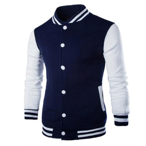 MEN00-STAND COLLAR STRIPED COLOR BLOCK BASEBALL JACKET (CADETBLUE)