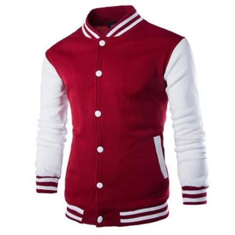 MEN00-STAND COLLAR STRIPED COLOR BLOCK BASEBALL JACKET (WINE RED)