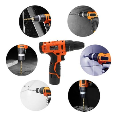 TOOL10-HOUSEHOLD SCREWDRIVER CORDLESS POWER ELECTRIC DRILL DRILLING TOOL (BLACK AND ORANGE) PAPER CASE