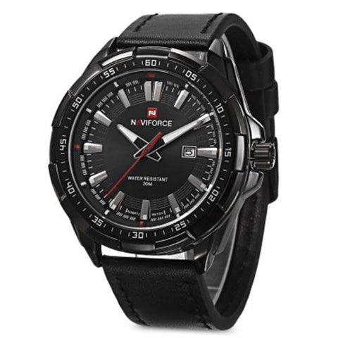 MEN04-NAVIFORCE02 WATER RESISTANT LUMINOUS ALL BLACK