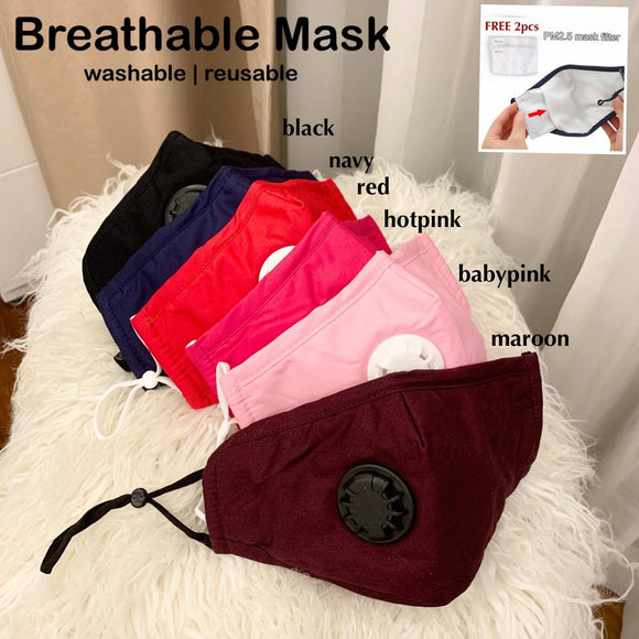 Face Mask Breathable upgraded with Valve with 2pcs mask filter