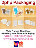 White Framed Clear Front with Hang Hole Ziplock Packaging Pack of 50s