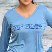Women's Long sleeve blue tech shirt