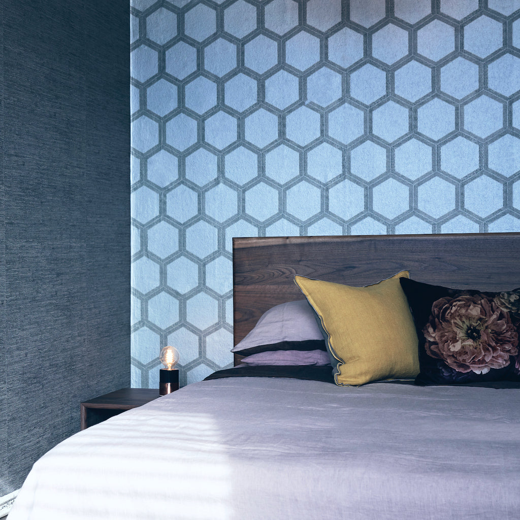 Divine king size bed shown with wallpaper