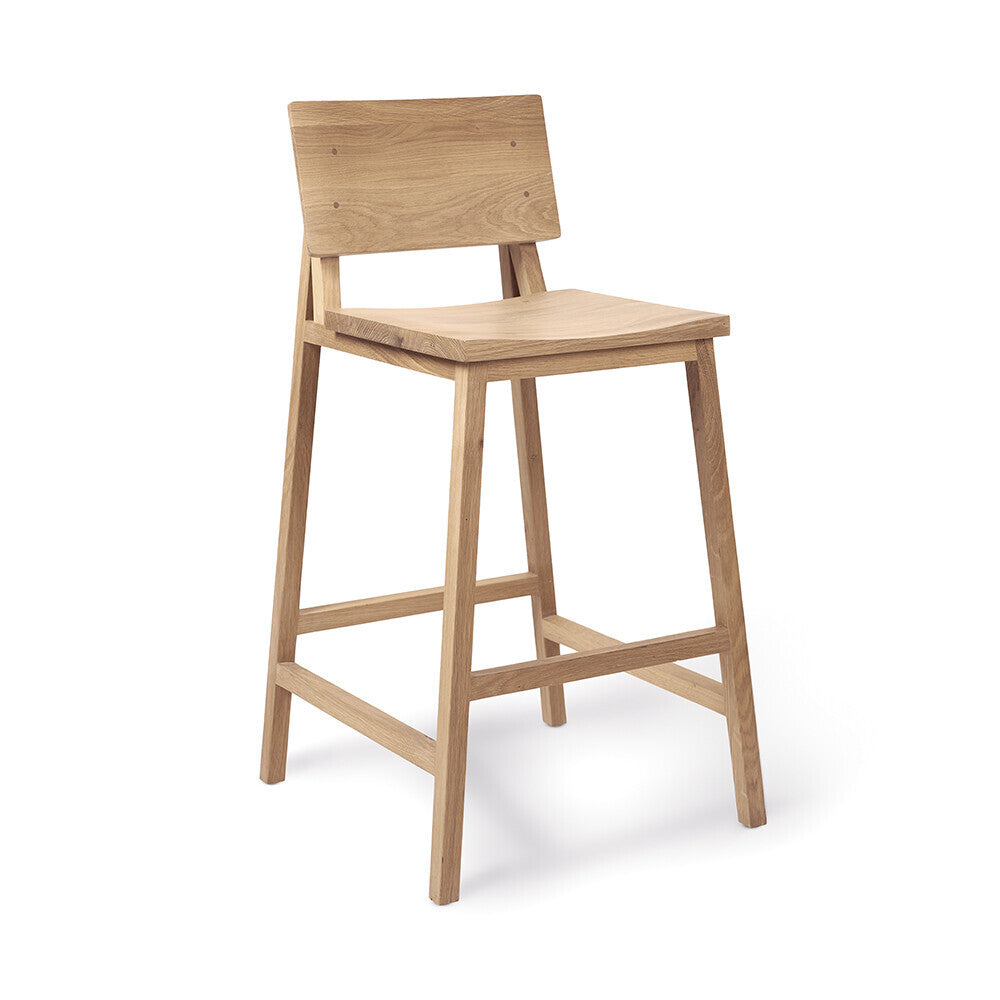 Oak N3 kitchen counter stool by Nathan Yong