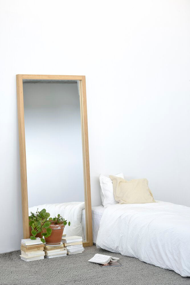 Oak Light Frame floor mirror