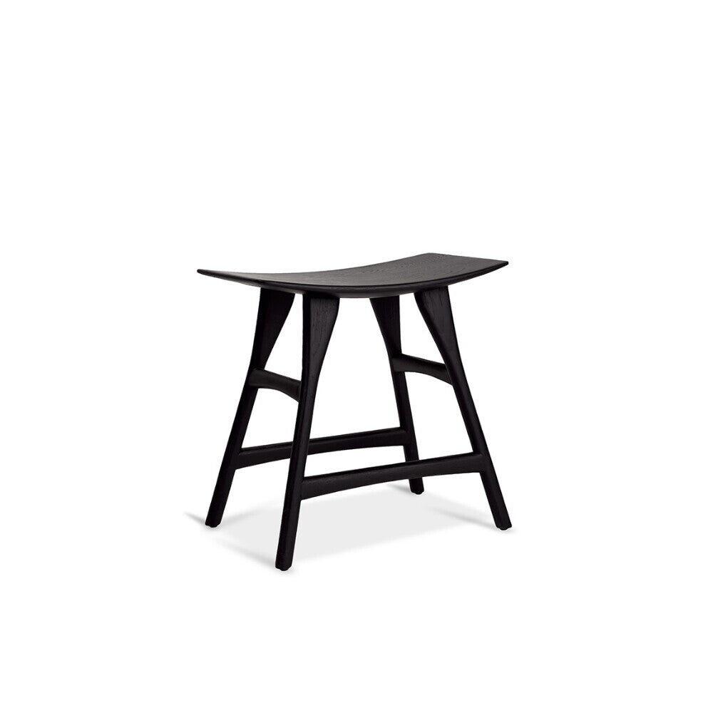 Oak Osso black stool by Ethnicraft