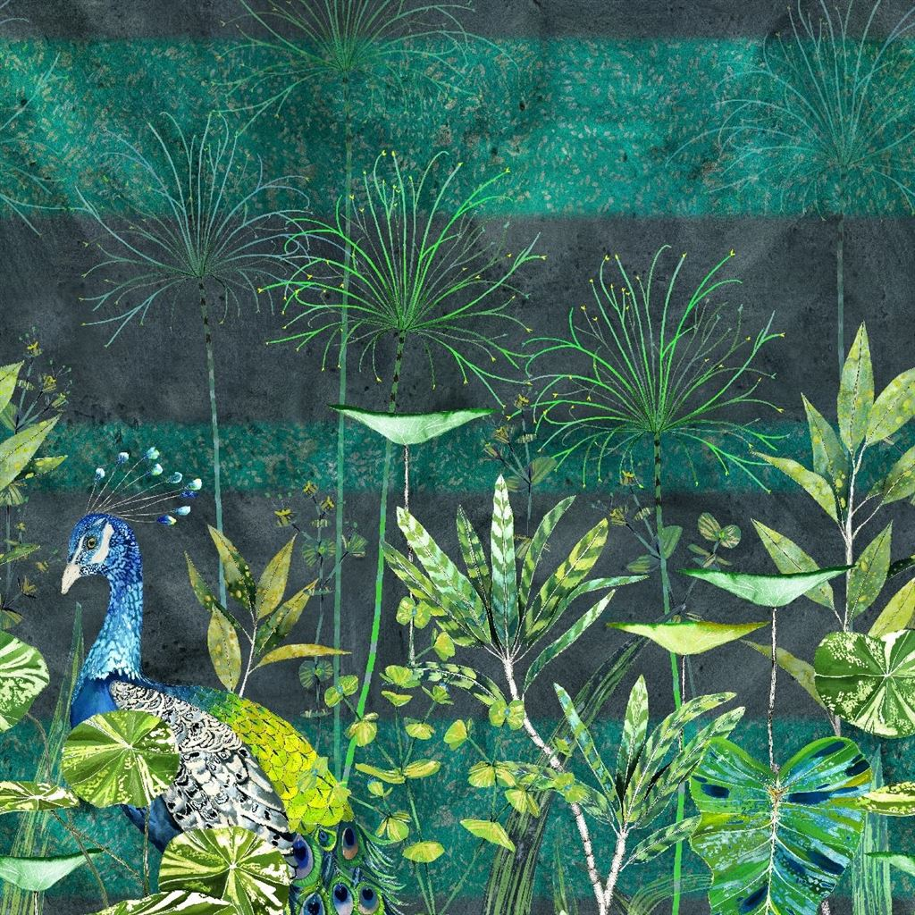 Arjuna Leaf With Peacock Viridian Wallpaper
