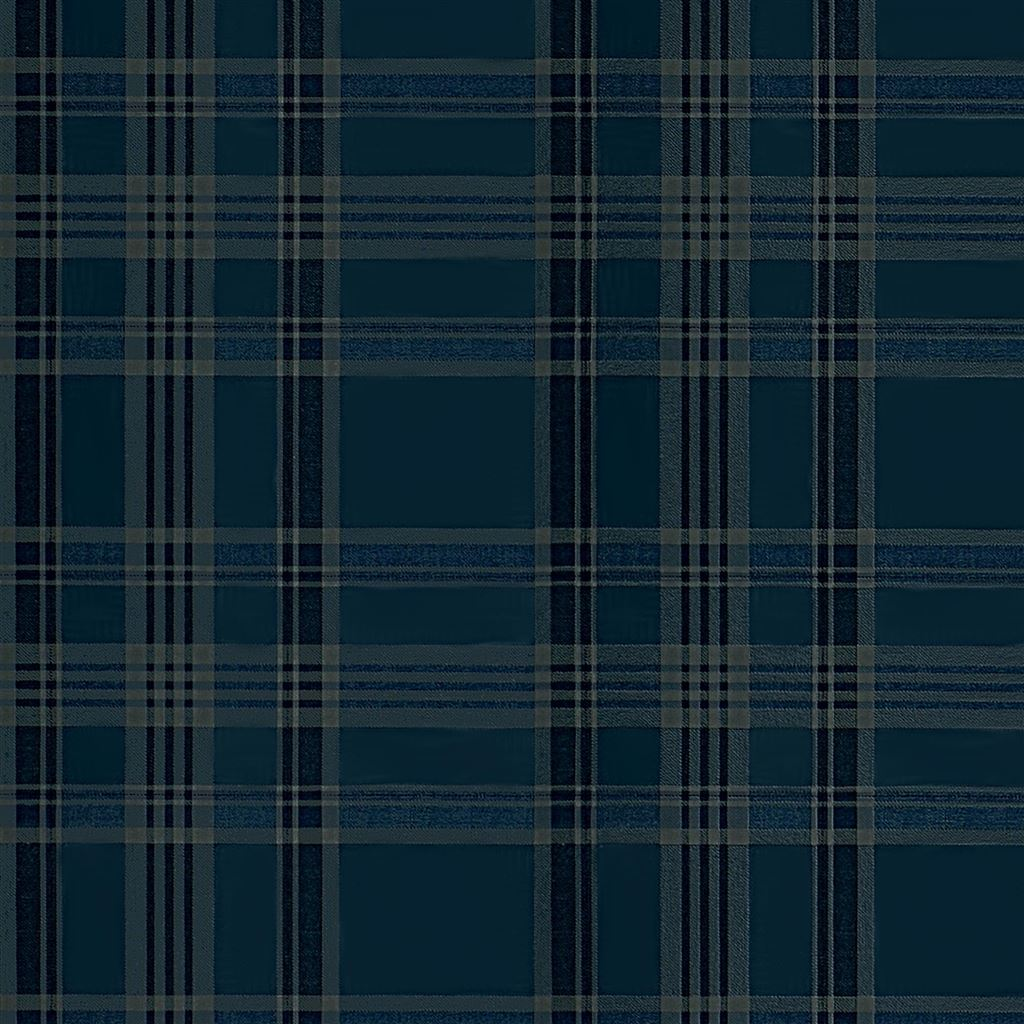 Deerpath Trail Plaid Indigo Wallpaper