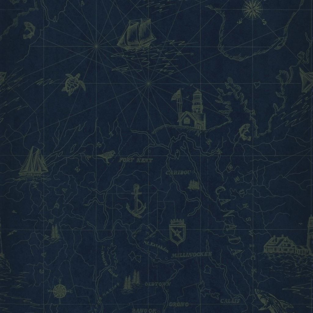 Searsport Map Royal Wallpaper