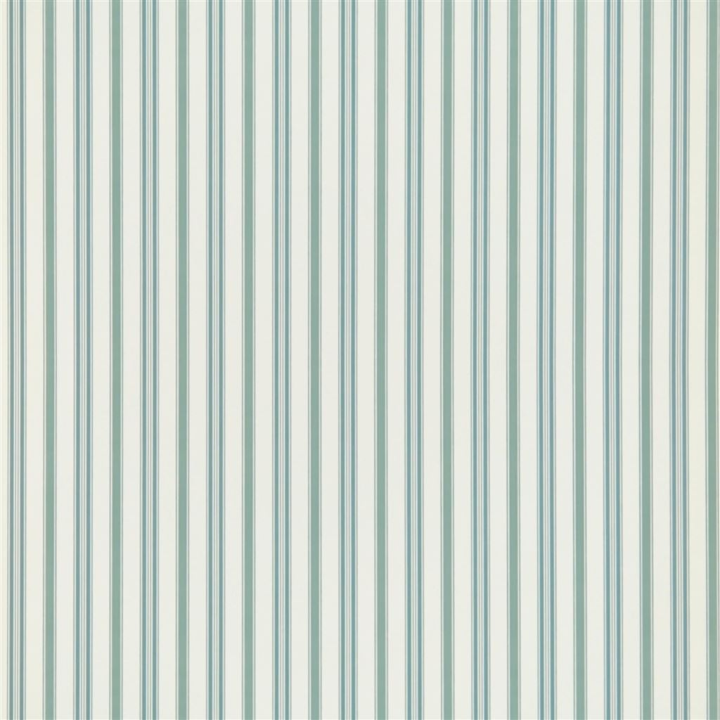 Basil Stripe Teal Blue Wallpaper