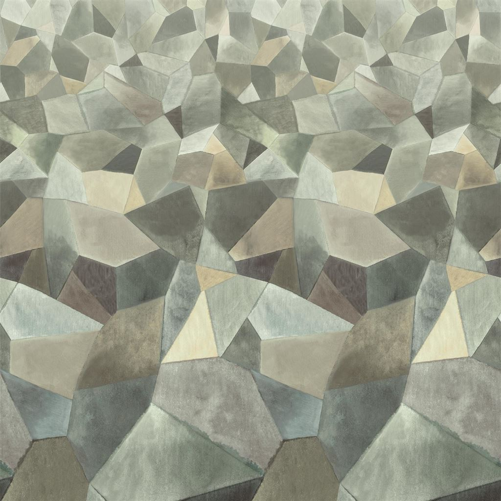 Geo Moderne Pewter Wallpaper