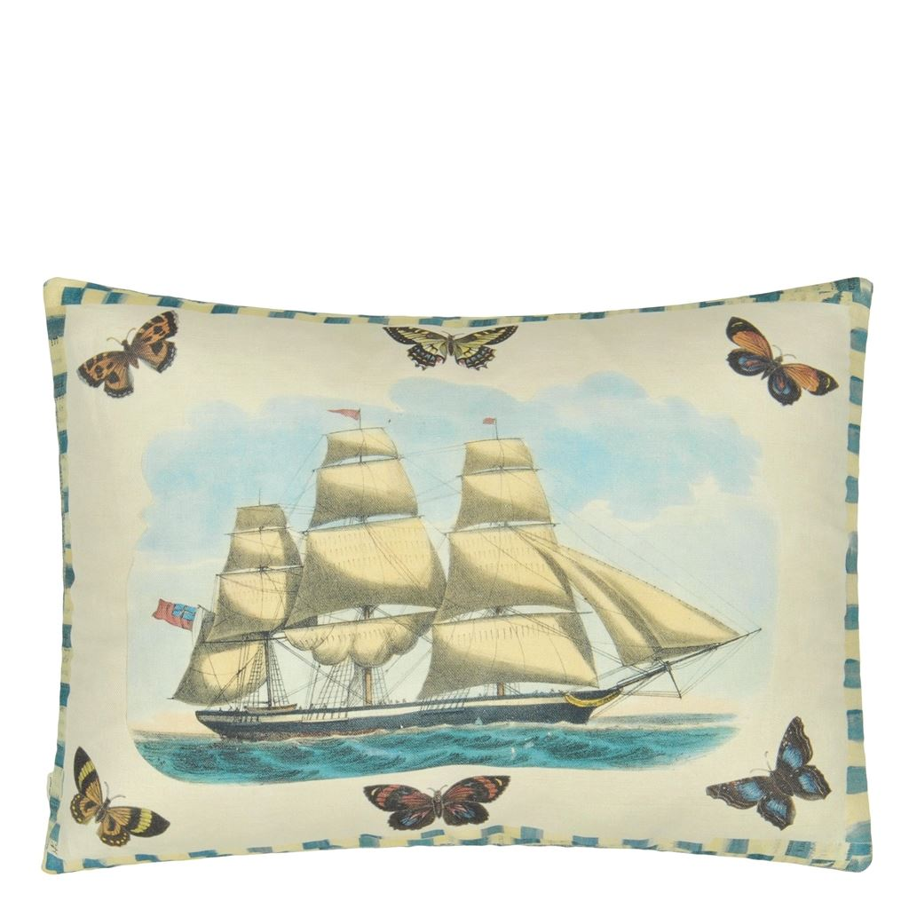 Blue Coral Delft Cushion