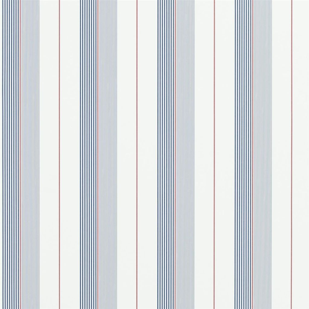 Aiden Stripe - Navy / Red / White Wallpaper