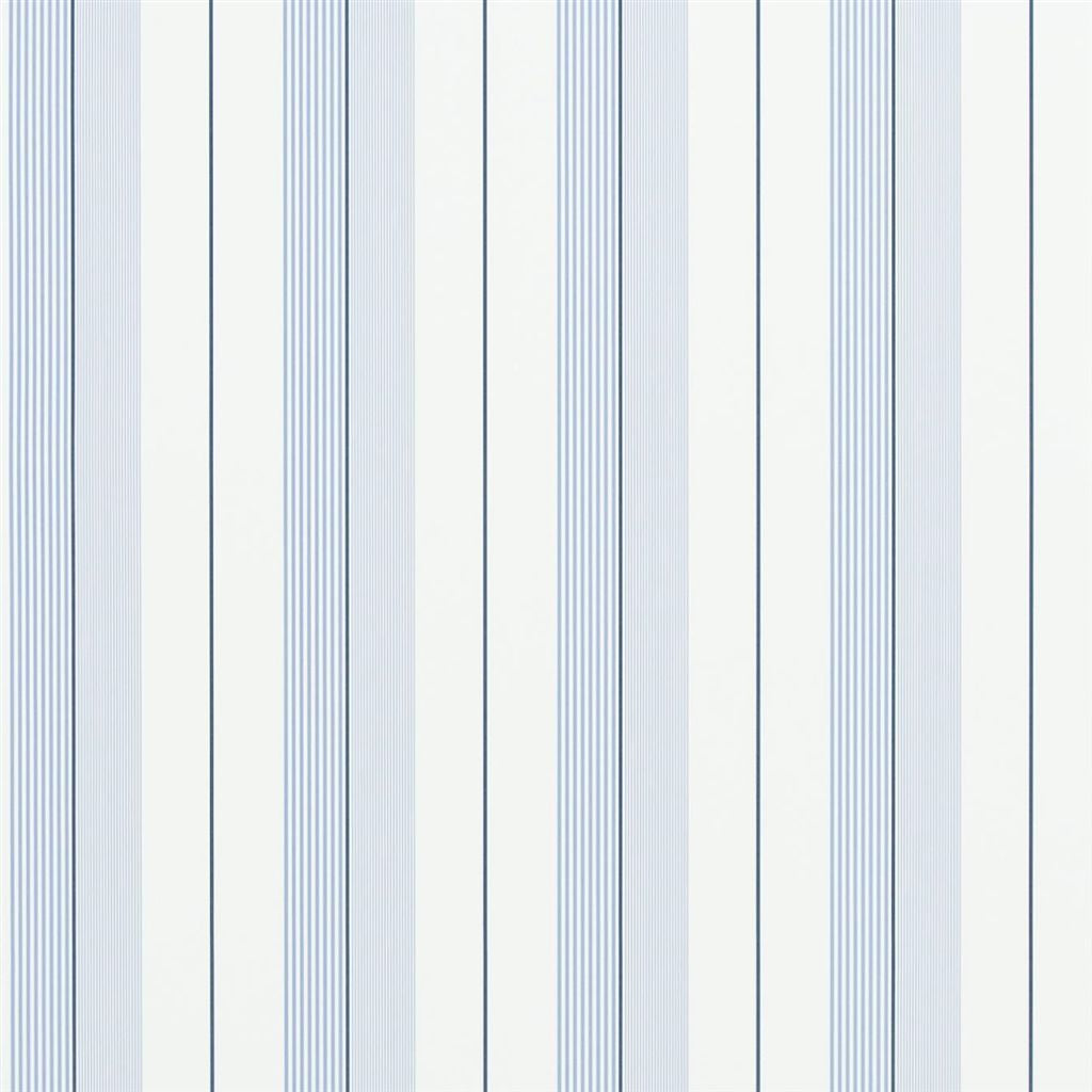 Aiden Stripe - Blue / Navy / White Wallpaper