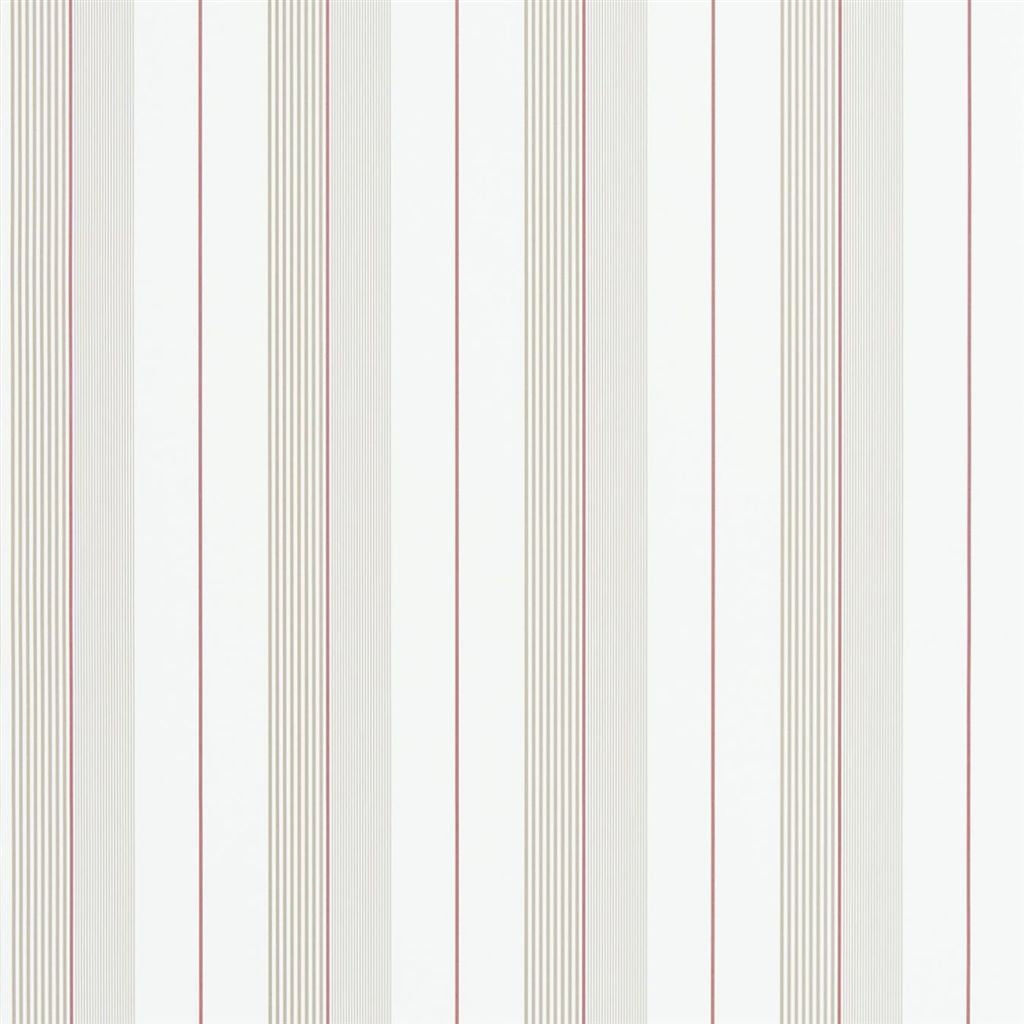 Aiden Stripe - Natural / Red Wallpaper