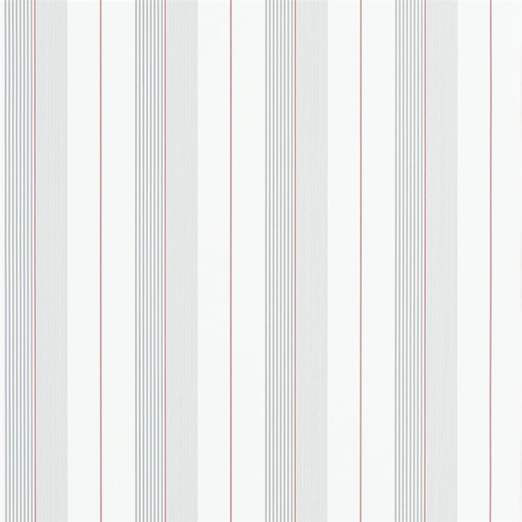 Aiden Stripe - Granite / Red Wallpaper