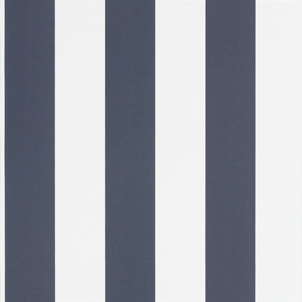 Spalding Stripe - Navy / White Wallpaper