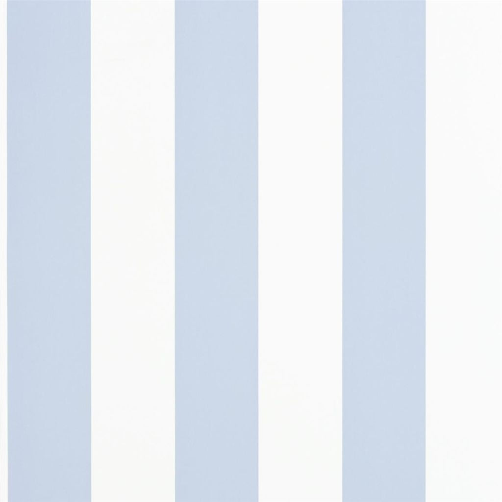 Spalding Stripe - Blue / White Wallpaper