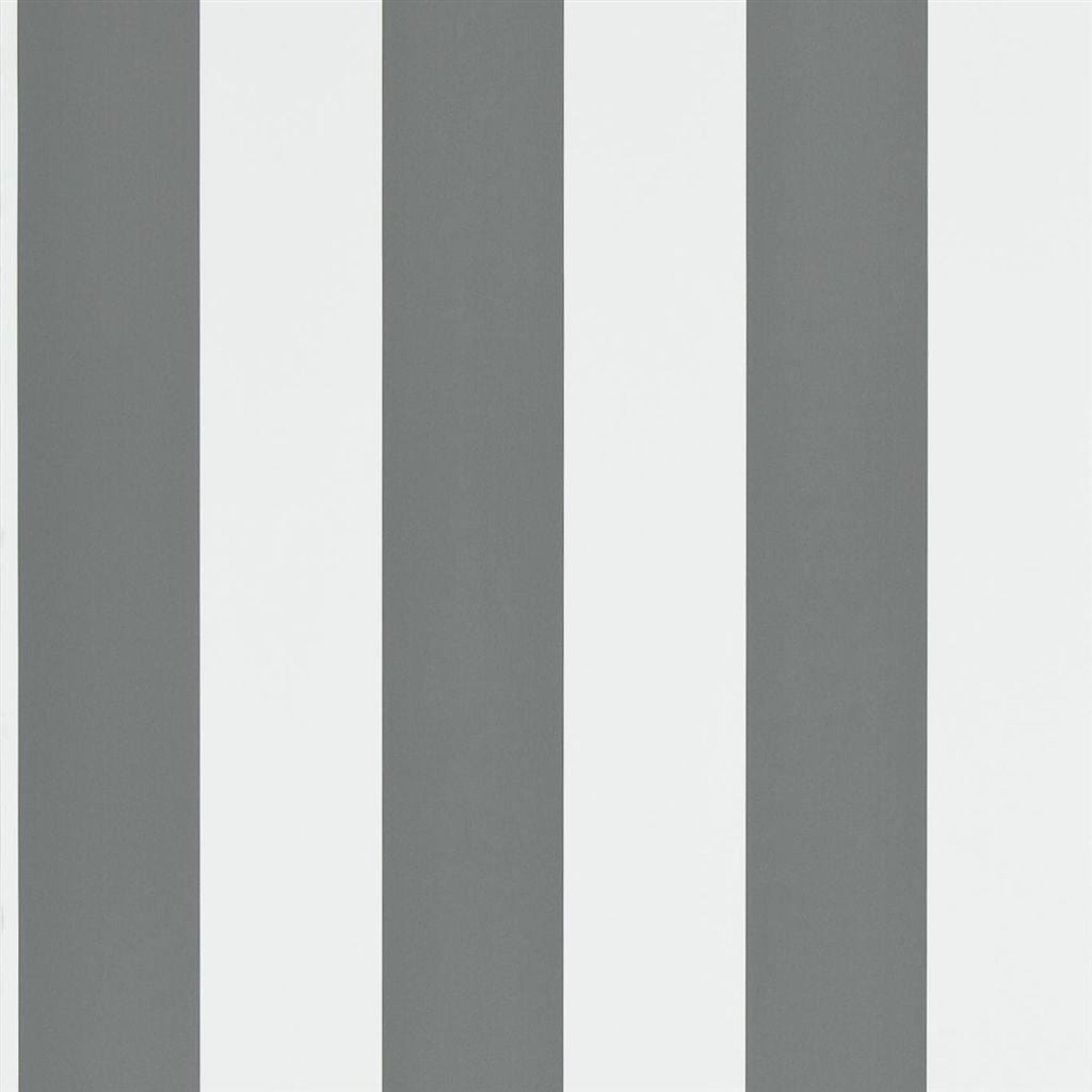 Spalding Stripe - Grey White Wallpaper