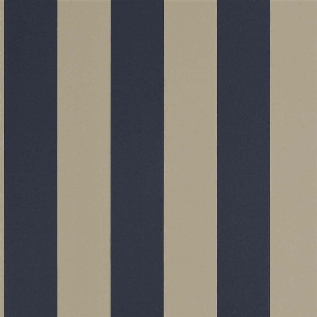 Spalding Stripe - Navy / Sand Wallpaper