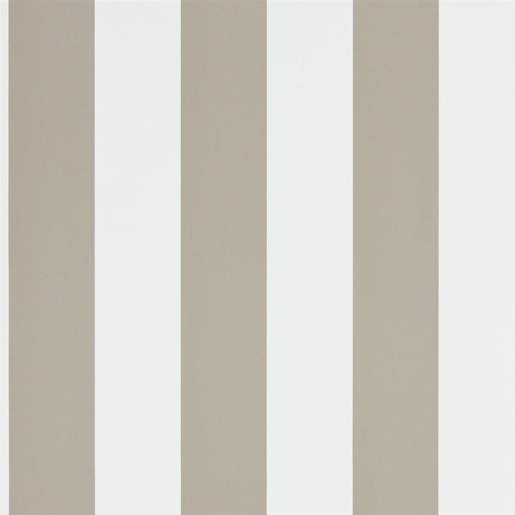 Spalding Stripe - Sand / White Wallpaper