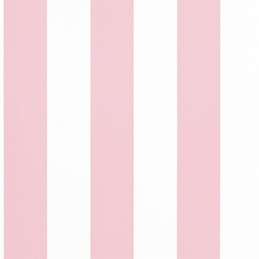 Spalding Stripe - Pink / White Wallpaper