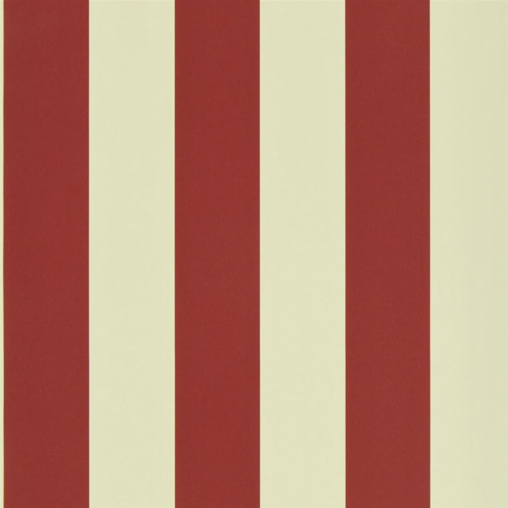 Spalding Stripe - Red / Sand Wallpaper