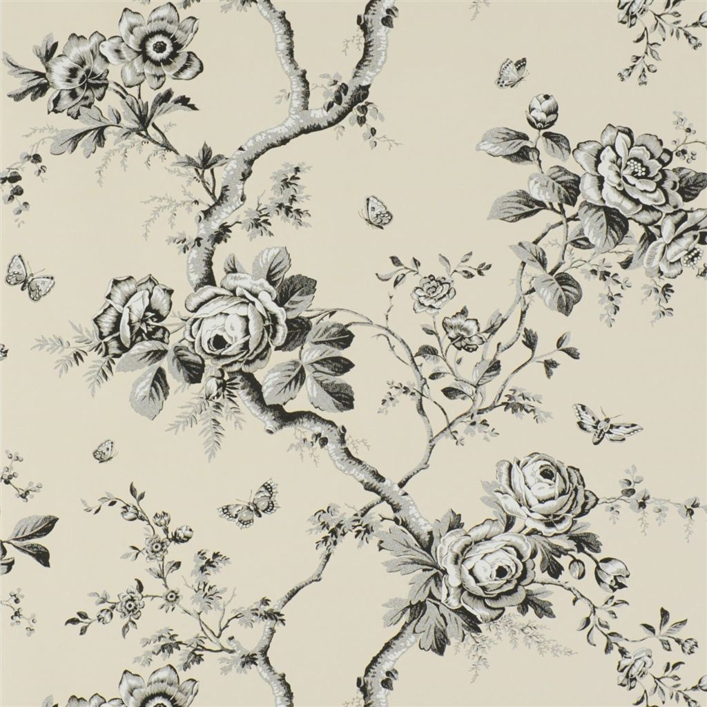 Ashfield Floral - Etched Black Wallpaper
