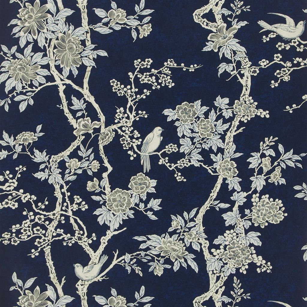 Marlowe Floral - Prussian Blue Wallpaper