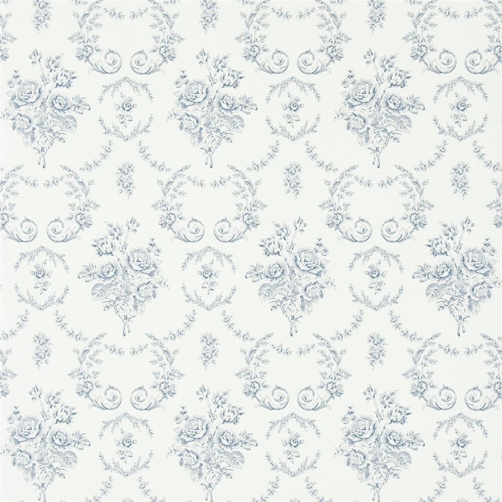 Saratoga Toile - Iris Wallpaper