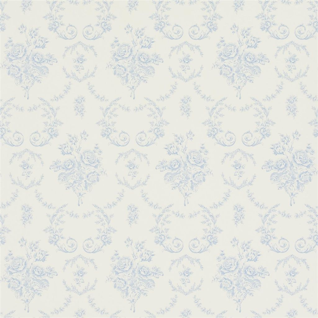 Saratoga Toile - Bluebell Wallpaper