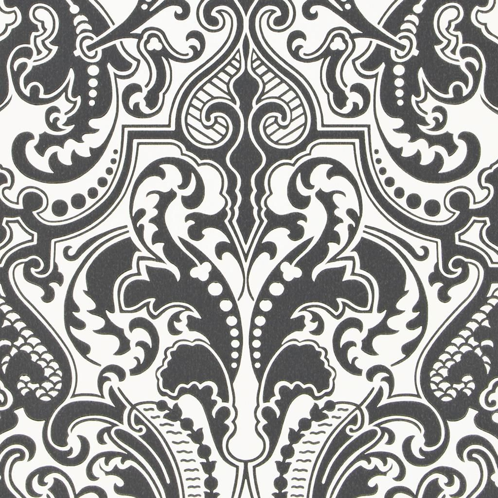 Gwynne Damask - Charcoal Wallpaper